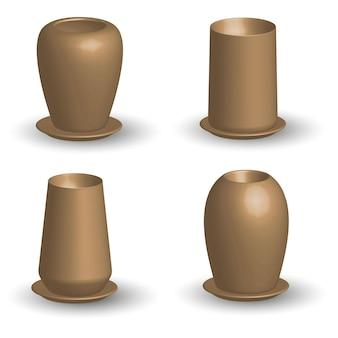 Set of ceramic vases on white