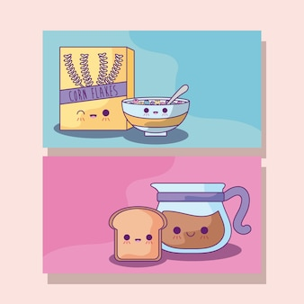 Set of cereal with coffee and bread kawaii style