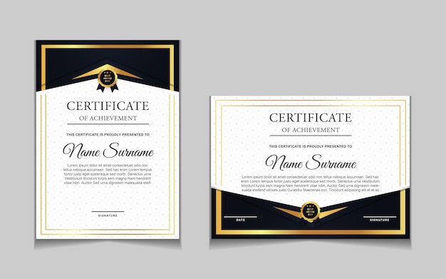 Set of certificate template design with gold luxury modern shapes