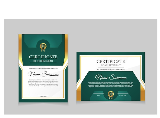Set of certificate template design with green and luxury modern shapes