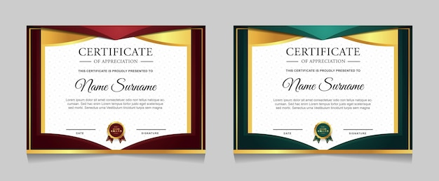 Set of certificate template design with luxury golden element