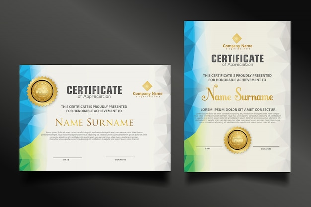 Set certificate template with dynamic and futuristic polygonal color and modern shapes