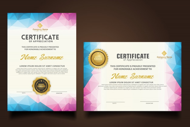 Set certificate template with dynamic and futuristic polygonal shapes