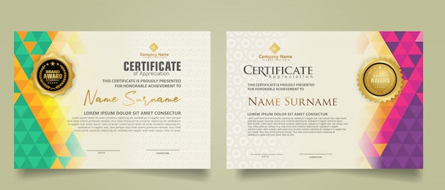 Set certificate template with triangle geometric polygonal background