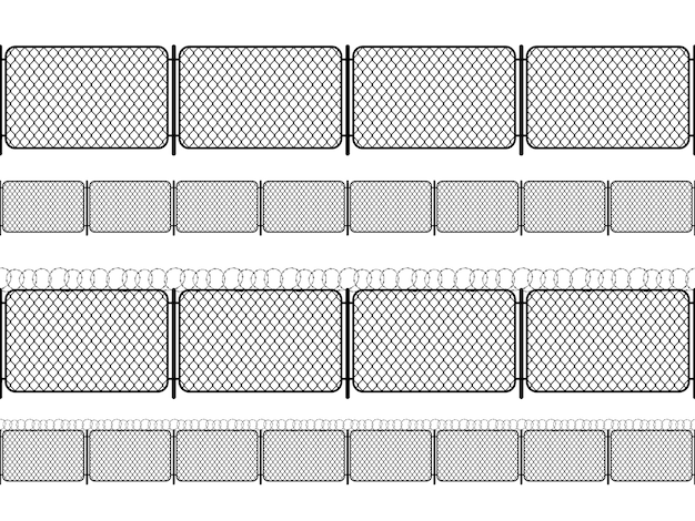 Set of chain link fence with barbed wire, black seamless silhouettes isolated on white
