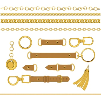Set of chains and accessories