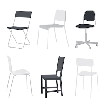 Set of chair and comfortable furniture  isolated object