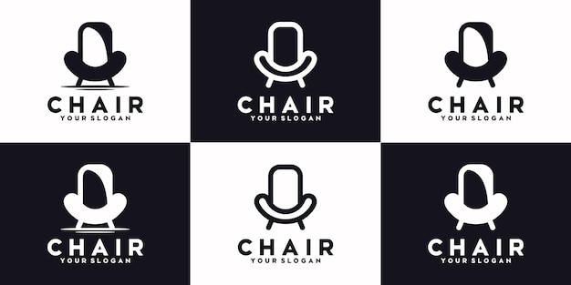 Set of chair line,logo furniture, reference logo