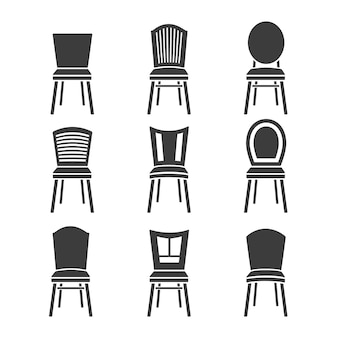 Set of chairs on a white background