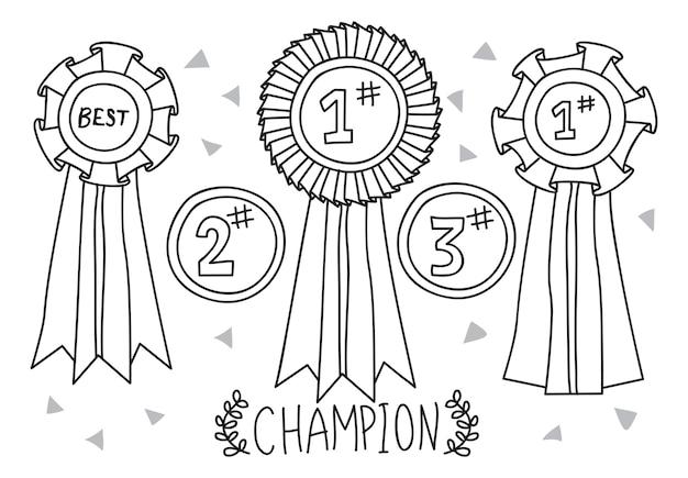 Set of champion award doodle
