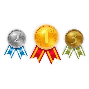 Набор золотых, серебряных и бронзовых медалей чемпиона с красными лентами, вектор изолированные