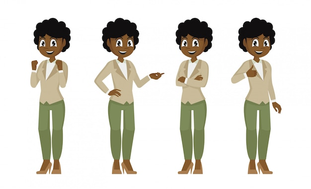 Set of character a african female office employee. secretary in different poses