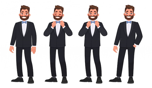 Set of character a bearded man in a business suit with a bow tie. the groom