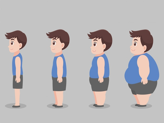 Set of character big fat man for lose weight grow thin