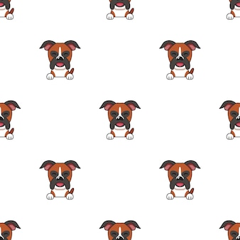 Set of character boxer dog faces showing different emotions for design.