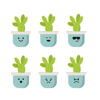 Set character bunny ear cactus illustration