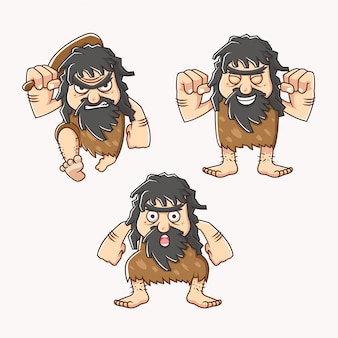Set character of a cave man in stone age with different style, facial expression and carrying bat  illustration