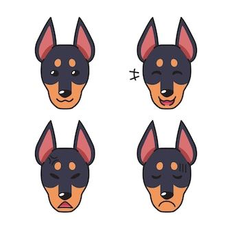 Set of character dobermann dog faces showing different emotions