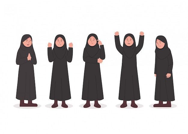 Set character expression of little hijab girl cartoon