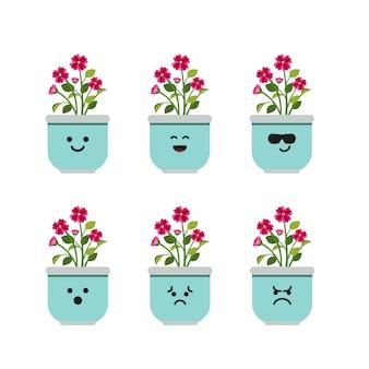 Set character flower plant in pot illustration Premium Vector