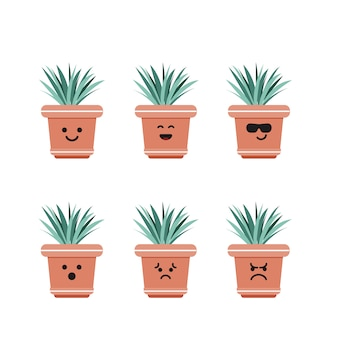 Set character grass plant illustration
