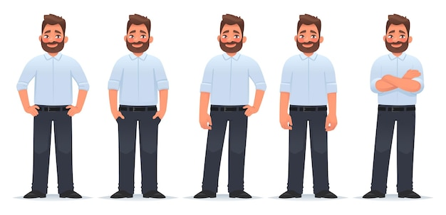 Set of character of a happy bearded man in different poses in classic clothes