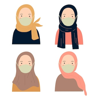 Set of character hijab woman with mask