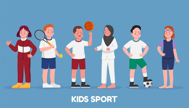 Set character kids sport hobbies in school