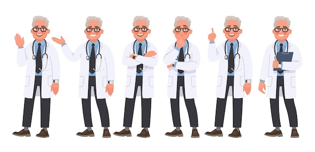 Set of character male doctor in various poses and emotions on white