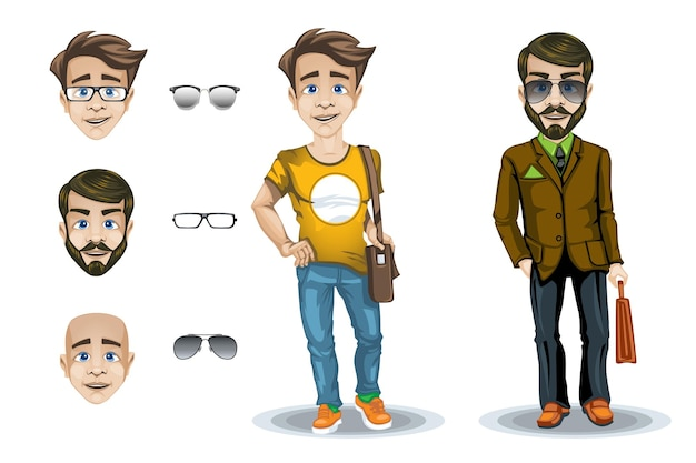 Set of character of a man and a boy with facial expressions and glasses.