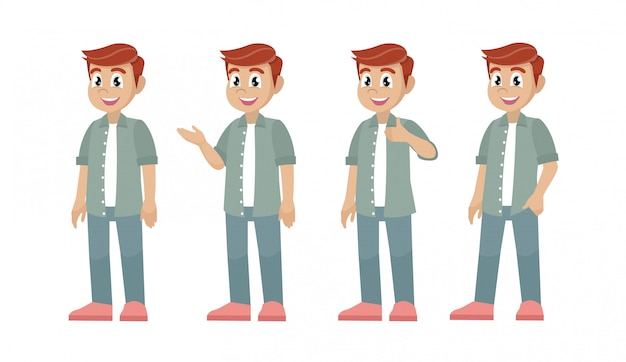 Set of character man in casual clothes in different poses.