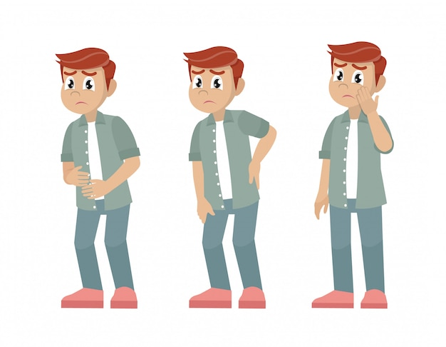 Set of character men with pain in different parts of the body.