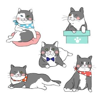Set character of cute cat