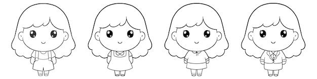 귀여운 소녀 손 그리기 색칠의 세트 캐릭터