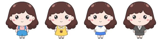 귀여운 소녀 손 그리기의 세트 캐릭터