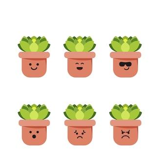 Set character succulent illustration