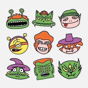 Set of characters childrens men vector illustration drawings in cartoon sticker style Premium Vector