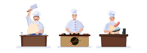 Set of characters cooking chefs.