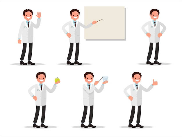 Set of characters dentist in various activities. perfect for information posters