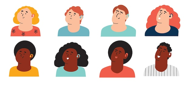 A set of characters of different ages with a hearing aid children and adults with ear problems