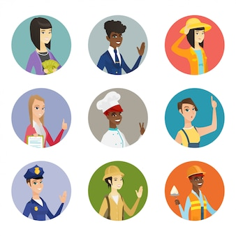 Set of characters of different professions.