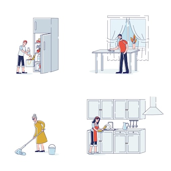 Set of characters doing housework routine for kitchen mop floor wash dishes