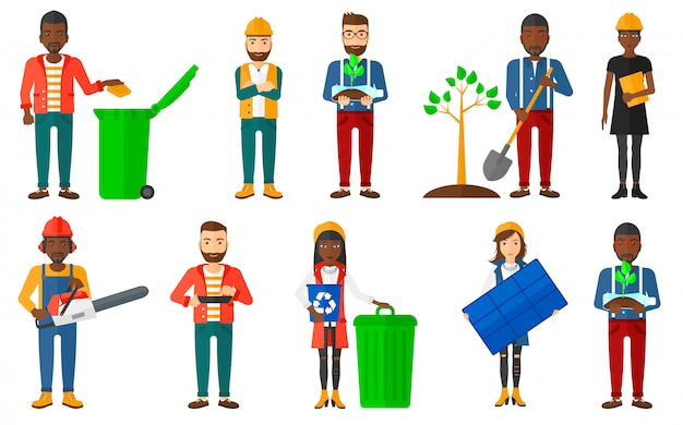 Set of characters on ecology issues.