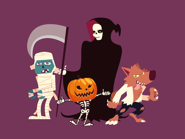 Set of characters halloween werewolf, mummy, death, pumpkin and skeleton