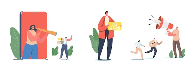 Set characters hiring job, woman with spyglass use online app. applicant with banner search work, hr agent with loudspeaker announcement for candidates employment. cartoon people vector illustration