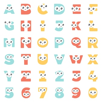 かわいい顔、ベクトルクリップアートで文字や数字の形で文字を設定します。