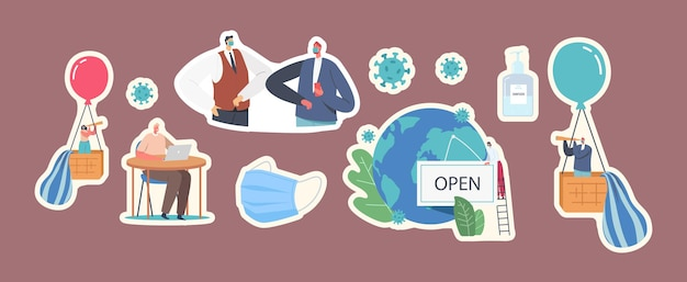 Set of characters. new normal business adapting changes after coronavirus, post covid19 outbreak pandemic. characters wearing medical facial mask distancing. cartoon people vector illustration