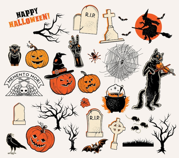 Set of  characters pumpkins witches silhouette bats cauldron spiders and web cat with violin