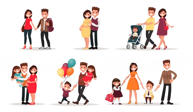 Set of characters showing the stages of development of the family. creation, birth of children,  care and upbringing. mother, father, daughter and son.  illustration