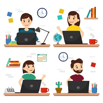 Set of characters working in homme, persons with a computer and office stuff